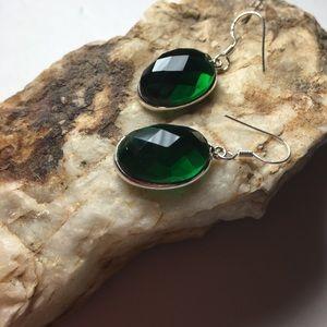 Emerald green quarts earrings NWOT